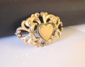 Victorian Ornate Gold Electroplate Brooch / Heart Motif / Some Gold Ornamentation / 1800s Jewelry / Jewellery