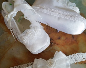 Baby Christening Shoes set with baby lace head band, Baptism shoes girl, baby girl white sarin shoes with hair lace band