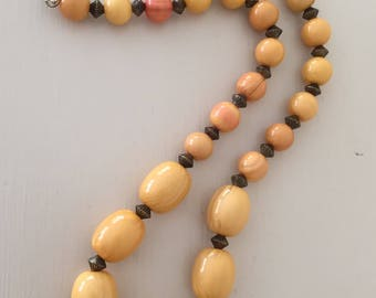 Butterscotch beads | 1970s amber plastic beads | 70s costume jewellery