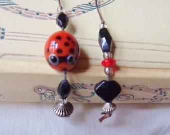 Ladybug Lampwork Bead Bookmark, Handmade Bead and Silver Bookmark
