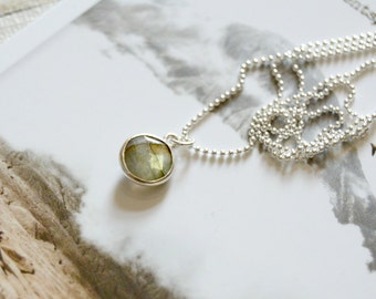 Ocean Kiss. Tiny Sterling Silver Labradorite Coin Necklace.