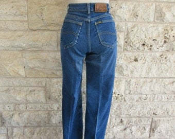 Western Jeans 80's Lee Jeans High Waisted Size 4 Small Lee Denim Distressed Jeans Floods