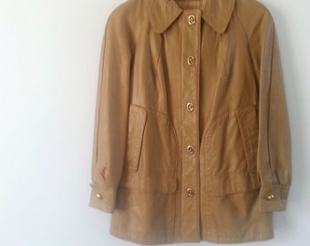 1960s / 1970s leather jacket, tan leather jacket, short leather coat, small