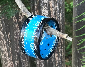 "Blue Gypsy Swirls Plus Size Bangle handpainted blues blacks white swirls 3"" across 9"" interior dimension"