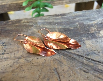 Small Copper Leaf Earrings, Fold Formed