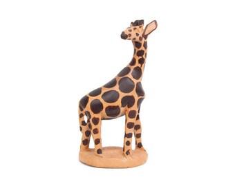 Vintage Hand Carved Wooden Giraffe Figurine Hand Painted African Safari Decor Kids Room Nursery