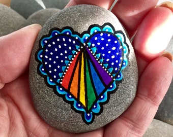 open your heart / painted rocks / painted stones  / heart rocks / rainbow hearts / paperweights / stone painting / rock art / cape cod