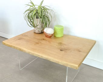 Natural live Edge Oak slab coffee table with resin infill on acrylic legs