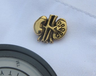 Gold Kidney Lapel Pin- CC391G- Medical and Anatomy Pins for Nurses and Doctors