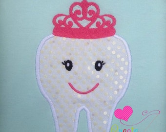 Princess Tooth Applique Embroidered Tee with FREE Personalization