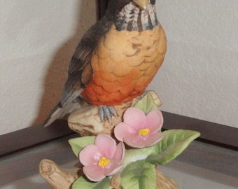 Andrea By Sadek Made In Japan 9386 Hand Painted Figural Bird & Floral Flowers Figurine