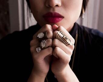 RAW HERKIMER DIAMOND Thick Bronze Wrap Ring