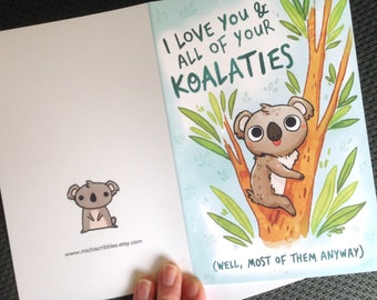 funny koala card, thank you card, anniversary card, valentines day card