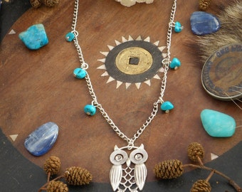Turquoise Owl Necklace Jewelry Silver Stone Stones Pendant Chain Bird Boho Hippie Bohemian Hippie Nature Natural Earthy