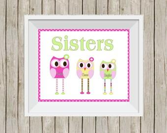 owl print, sisters print, owl room decor, owl nursery, wall decor, nursery art, girl's room decor, shared room decor, wall art, pink nursery