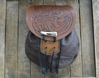 Celtic Stag Leather Sporran, Medieval Pouch, Renaissance Belt Bag, Tooled - Deluxe