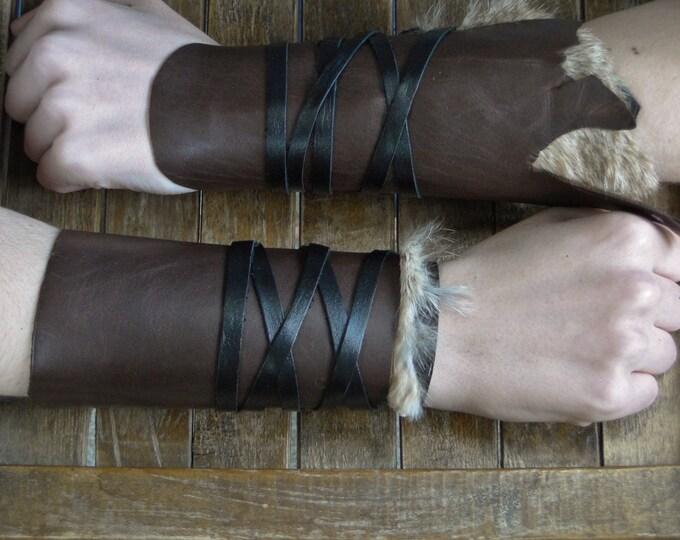 Leather Cuffs - Warrior Viking Tribal Larp Costume Cosplay - Pair #9b
