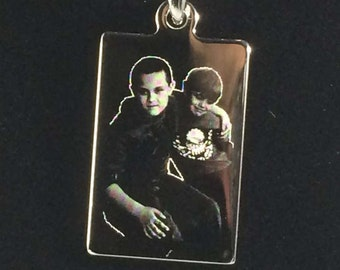 Photo Engraved Rectangle Pendant Necklace Double Side Engraved Your Own Photo New