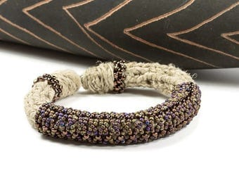 Beaded Bangles, Woven Jewelry, Handmade, Ethnic Bead Bangles, Bohemian Tribal, Fiber Jewelry, Glass Beads, Unique Gifts for Her, Earth Tones