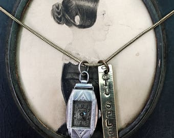 You shine! Watch Necklace. Love Writing, antique watch part, tape measure, french, antique reconstructed, vintage assembled, repurp