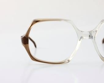 Vintage 70's Brown Sugar Oversized Eyeglasses Frames