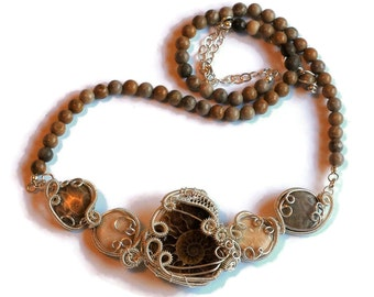 Ammonite Fossil and Fossilized Coral Statement Necklace / Natural Fossil Jewelry / Sterling Silver Wire Work / Ancient Ocean Collection