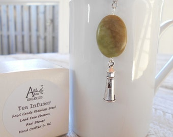Lighthouse Tea Infuser / Free Shipping in USA / Green / Nautical Tea Infuser/ Green Serpentine Stone / Gift Boxed /Tea Lover
