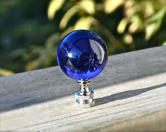 Large Sapphire Blue Crystal Ball Finial with Chrome, Perfect Topper for Your Lamp