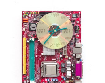 Geeky Wall clock - recycled Computer - red circuit board - ready to ship c2745