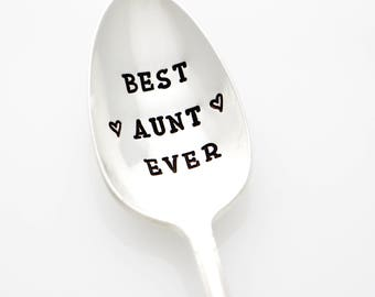 Best Aunt Ever. Stamped Spoon. Aunt Gift from Niece or Nephew. Present for Auntie, Gifts for Aunts and Auntie. Mother's Day Gift.