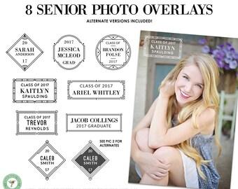 Editable Senior Graduation, High School, College, Graduate, Class of 2017, 2018, Photo Overlays Set 4 - P18