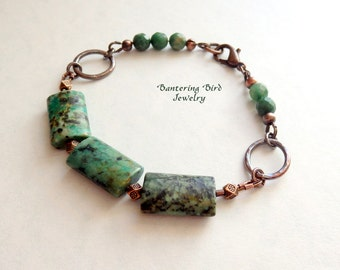 Green Stone Bracelet, African Turquoise and Hammered Copper, Handmade Beaded Bohemian Copper Jewelry