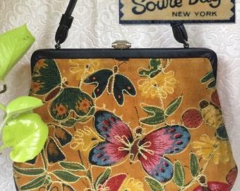60s Velvet Embroidered Butterfly SOURE BAG - Hippie Boho Bohemian Purse - Vintage Folk Handbag - Mustard Yellow Velour - Mid Century Bag