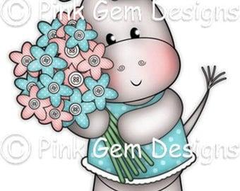 Digi Stamp Henrietta Hippo with Flowers - Birthday, Mothers Day etc