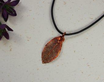 SALE Leaf Necklace, Copper Rose Leaf, Real Rose Leaf Necklace, Copper Leaf Pendant, SALE223