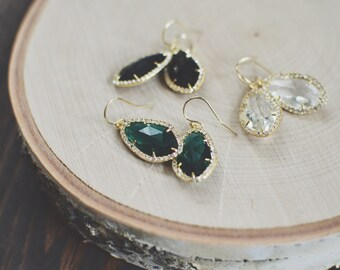 Sparkly Dangle Earrings // Charcoal, Crystal, Black, Emerald // Gold Filled // Pave Stone Earrings // Bridesmaid Earrings