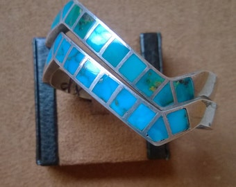 Set of Two Zigzag Turquoise Bracelets From The 1980's