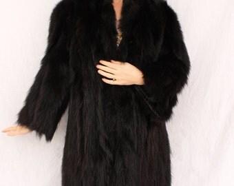 Gorgeous 1940s Black Skunk Fur Full Length Coat SIZE SMALL