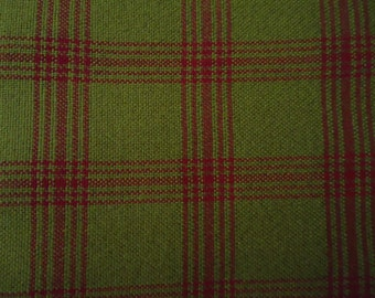 Vintage Green and Crimsom Red Plaid Wool Fabric Material