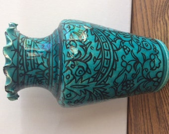 Turquoise Ceramic Vintage Vase Made in Turkey
