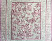 Baby Girl Quilt, Wall Hanging,  Baby Girl Blanket, Pink, White, Toile, Sugar and Spice, Quiltsy Handmade