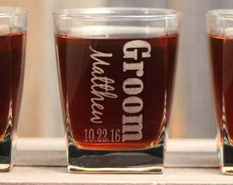 Personalized Groomsmen Gifts Etched SQUARE Whiskey Scotch Glasses  Be My Best Man Be My Groomsman Gift - ANY QUANTITY - 14oz Rocks Glass