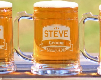Groomsmen Custom Engraved Beer Mugs 16oz Mug Groomsmen Gift Best Man Mug Groomsman Mug - ANY QUANTITY