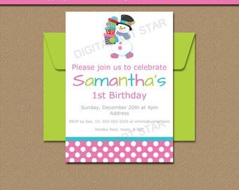 Snowman Invitation Template, Printable Christmas Invitations, Holiday Birthday Invites, Girl Winter Birthday Invitations, Christmas Party C1