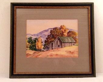Vintage Framed Matted Watercolor Landscape Old Gray Barn Farm Mid Century