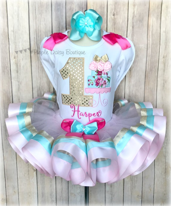 Birthday Cake Ribbon Trimmed Tutu Outfit First Birthday Tutu Dress
