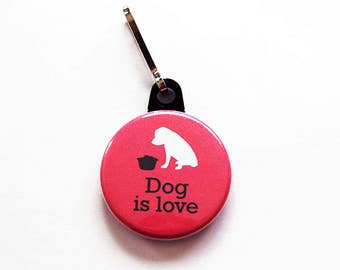 Dog zipper pull, Dog is Love, zipper pull, purse charm, dog charm, Dog Lover, zipper charm, stocking stuffer, pink, gift for her (1056)