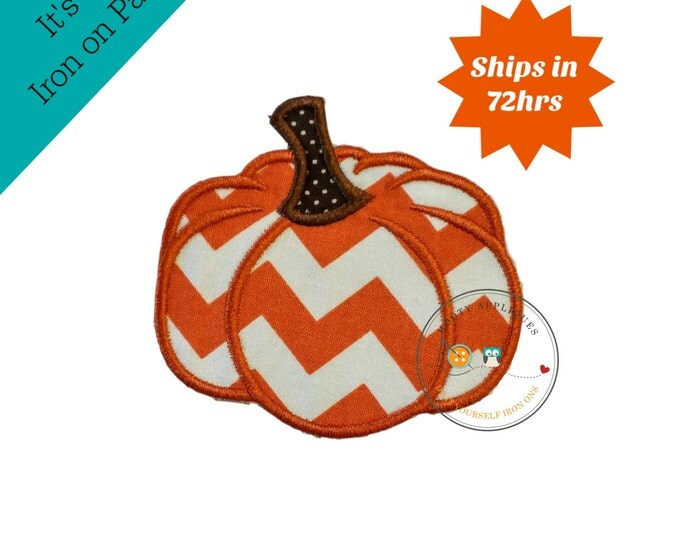 Small chevron pumpkin  iron embroidered fabric applique patch embellishment- ready to ship