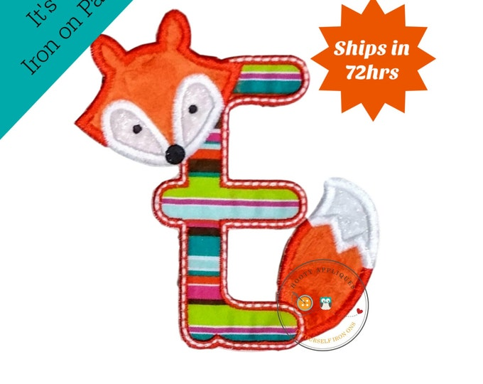 Woodland fox letter E machine embroidered iron on no sew patch, fox embroidered monogram letter e, ready to ship