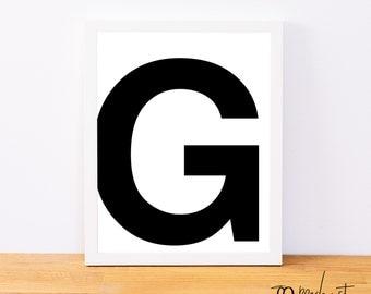 Letter G, Typography Print, Letter Print, Printable Monogram, Printable Art, Minimal Decor, Black and White Wall Art, Digital Download